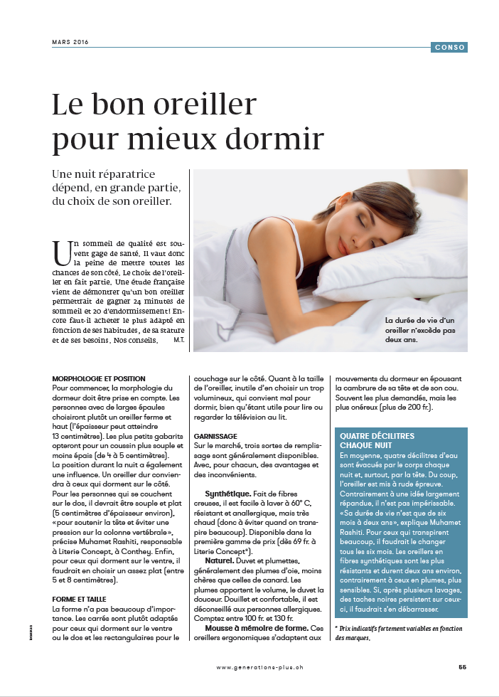 Choisir un bon oreiller est primordial literie concept - Choisir son oreiller ...
