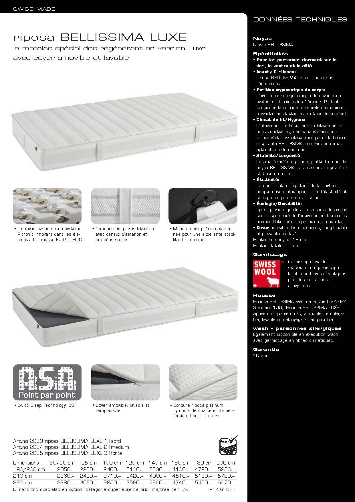 riposa bellissima matelas suisse page 3 literie concept. Black Bedroom Furniture Sets. Home Design Ideas