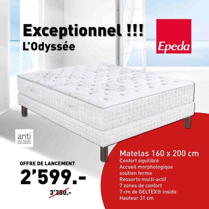 matelas odyss e de la marque epeda literie concept. Black Bedroom Furniture Sets. Home Design Ideas