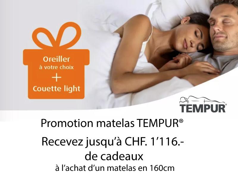 Promotion Tempur Literie Concept Genève - Lausanne, Conthey et Bulle